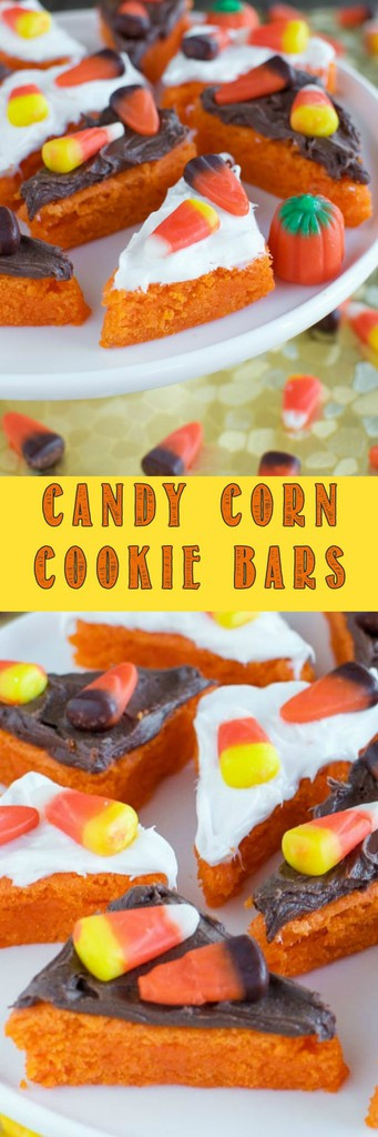 These Easy Candy Corn Cookie Bars are soft and chewy with creamy frosting and adorned with candy corn! They are a festive fall treat that everyone will love!