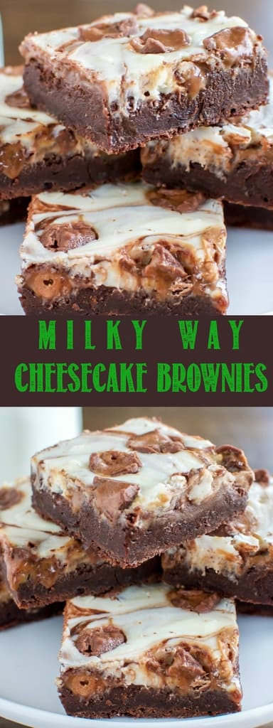 These Milky Way Cheesecake Brownies combine the perfect fudgy brownie with smooth, creamy cheesecake, and gooey milky way candy bars. An impressive dessert that's easy to make!