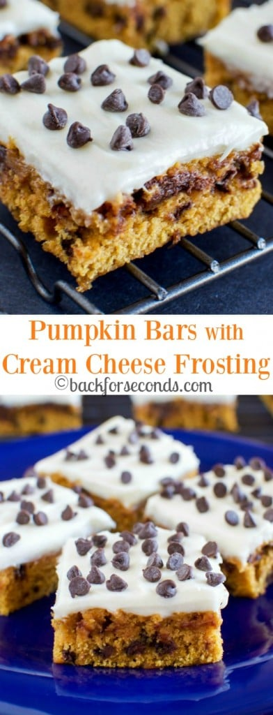Pumpkin Chocolate Chip Bars with Cream Cheese Frosting