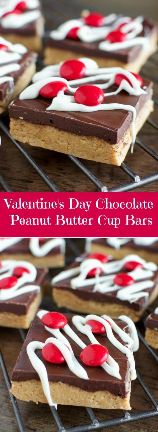 Valentine's Day Dessert - No Bake Chocolate Peanut Butter Cup Bars!