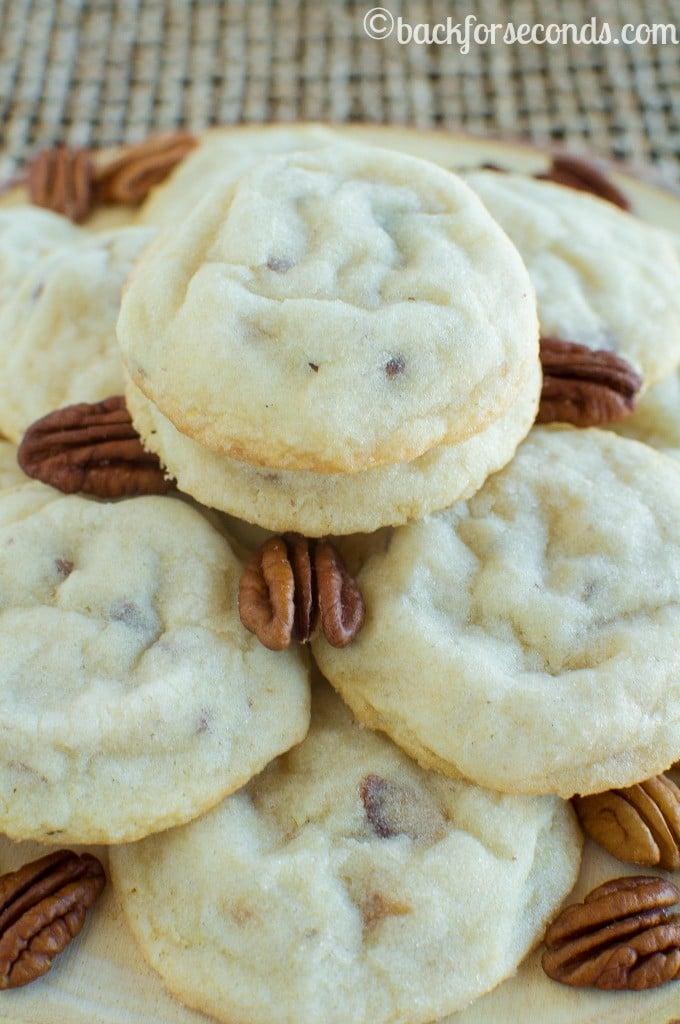 The BEST Homemade Pecan Sandies Cookies - Light, buttery, crisp cookies with chopped pecans!