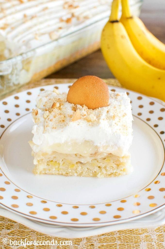 Homemade Banana Cream Pie Poke Cake from scratch!