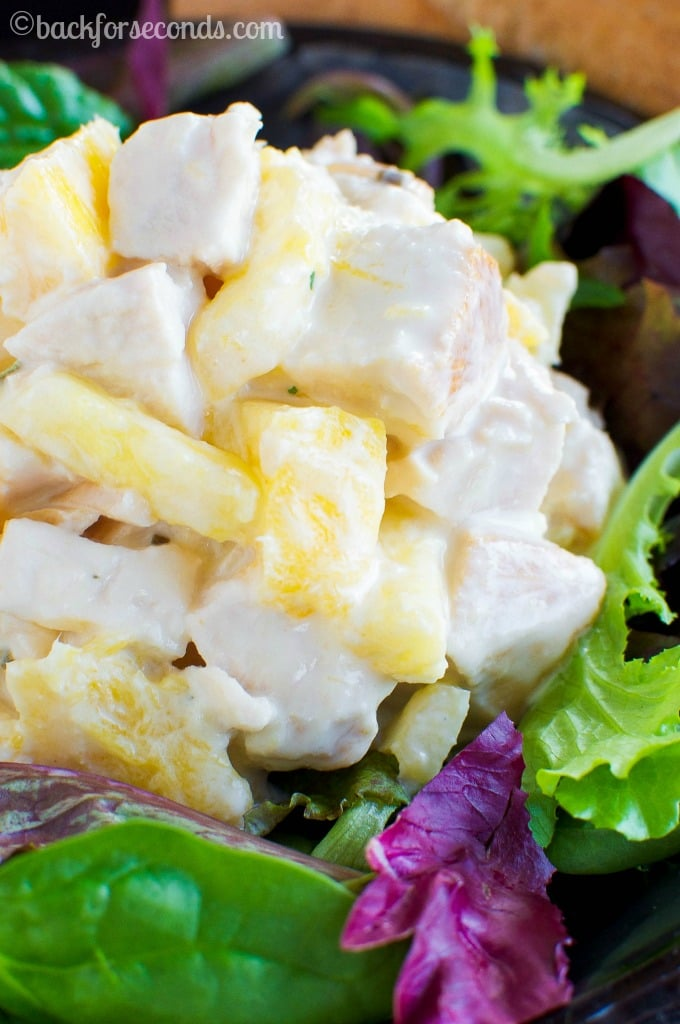 Mango Chicken Salad Recipe - A delicious light dinner or lunch. Great on a toasted bun or bed of lettuce!