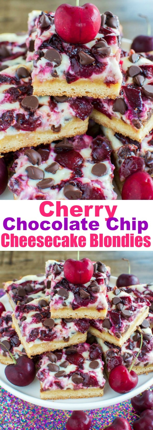 Cherry Chocolate Cheesecake Blondies - such an easy SCRUMPTIOUS dessert!