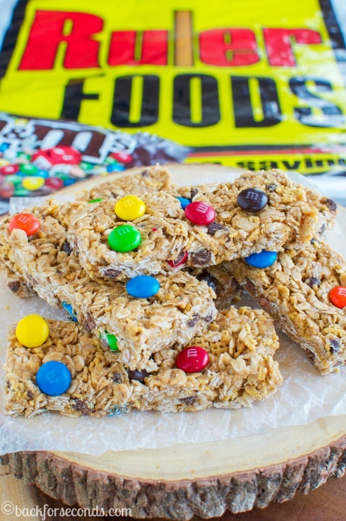 Chewy No Bake M&M's Granola Bars recipe #Promotion