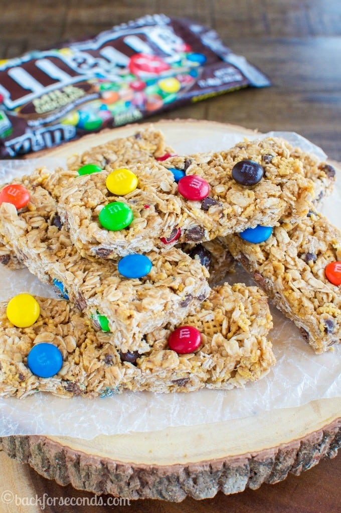 Chewy No Bake Peanut Butter M&M's Granola Bars #Promotion