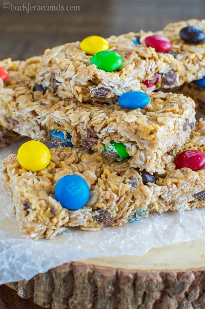 Chewy No Bake Peanut Butter and M&M's Granola Bars #Promotion