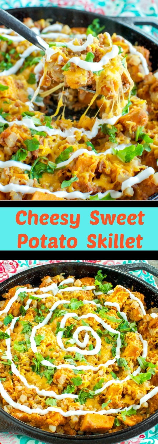 Cheesy Sweet Potato Skillet - Easy 20 minute dinner! #Promotion