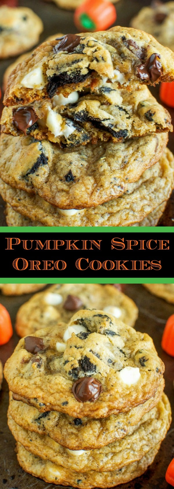 Pumpkin Spice Oreo Chocolate Chip Cookies - Pumpkin pie meets cookies and cream, meets, chocolate chip cookie! A must make for Fall! (Great for halloween, too!)