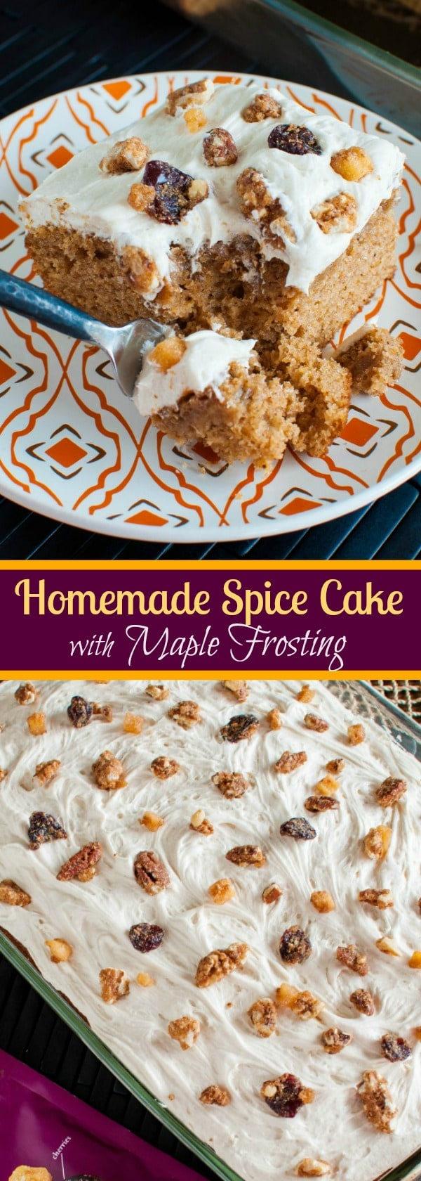 Homemade Spice Cake with Maple Frosting and Maple Glazed Pecans - the perfect Thanksgiving or Christmas dessert recipe! As easy as a box mix but tastes SO much better!