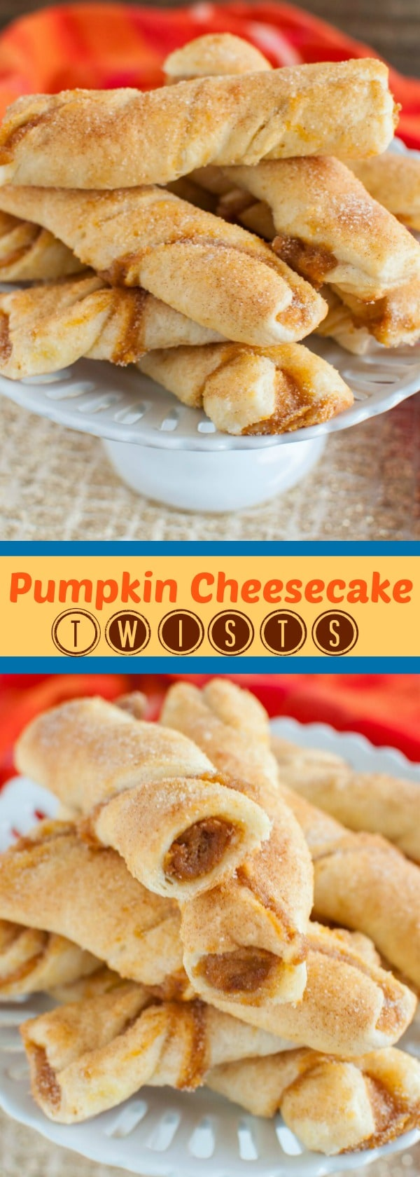 Pumpkin Cheesecake Twists are such a delicious treat, you won't believe how easy they are to make! The cinnamon sugar coating makes them irresistible!