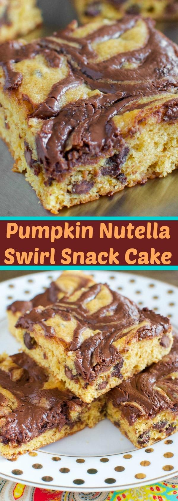 Nutella Pumpkin Swirl Snack Cake
