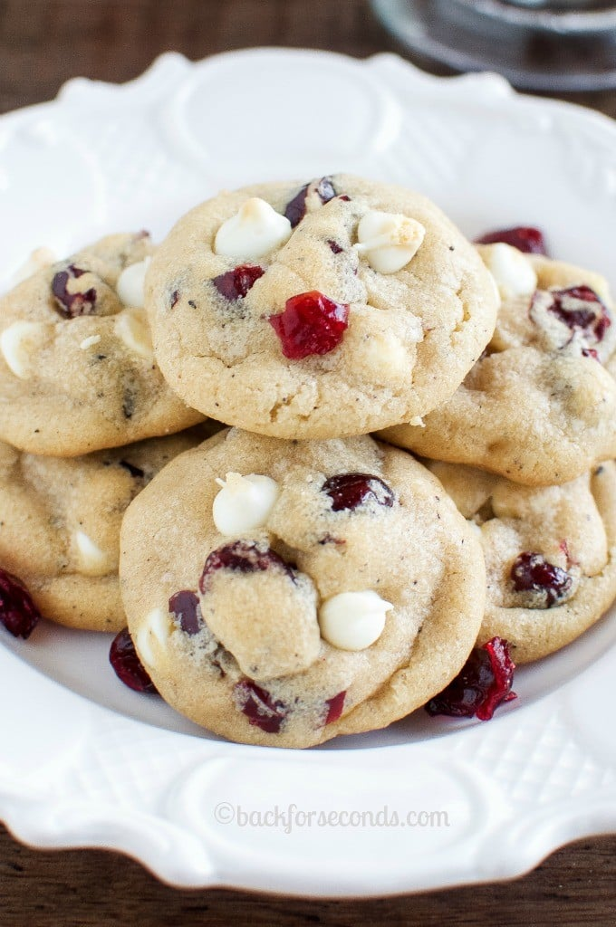 These are the Best White Chocolate Cranberry Cookies ever! Sweet and tart, and thick, soft, and chewy with a secret ingredient that makes them amazing!!