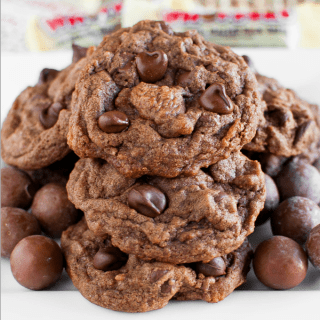 Chewy Chocolate Malt Ball Cookies