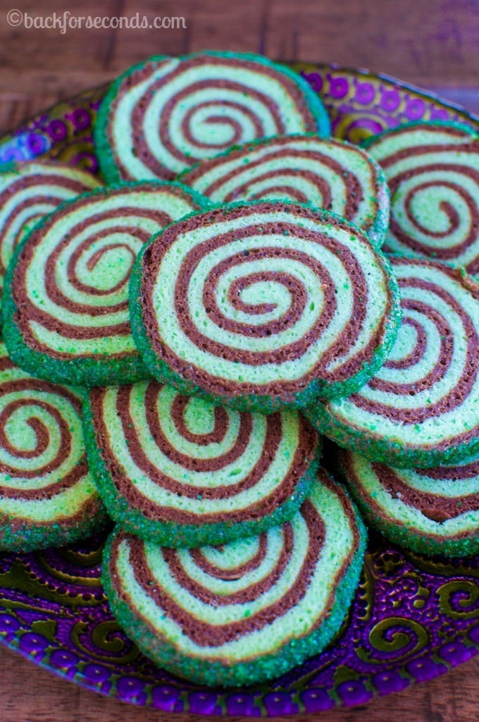 Mint Chocolate Sugar Cookie Pinwheels are soft, chewy, and so pretty!
