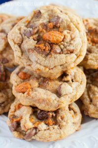 Brown Butter Butterfinger Cookies