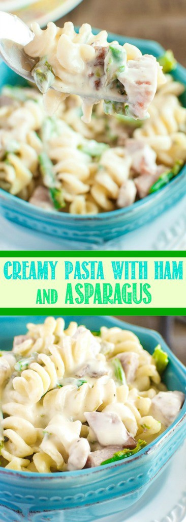 Creamy Pasta with Ham and Asparagus is a quick and easy dinner that is super delicious! The cream cheese sauce is amazing - even picky eaters love this meal!