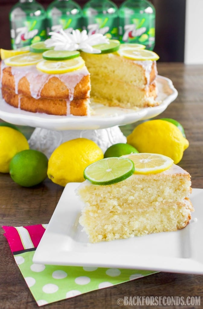 This 7 UP Cake from Scratch with Lemon Lime Glaze is moist and buttery and bursting with lemon lime flavor! The perfect dessert for summertime entertaining!