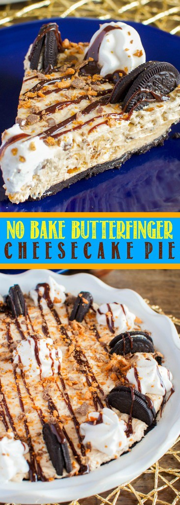 No Bake Butterfinger Cheesecake Pie with an Oreo Crust is out of this world delicious! An easy, impressive dessert recipe that always gets rave reviews!