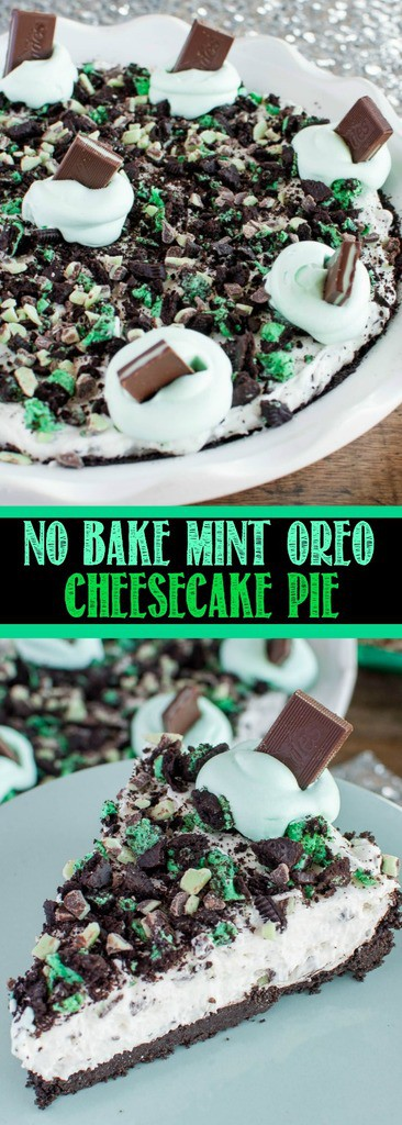No Bake Mint Oreo Cheesecake Pie is an easy dessert recipe you will make over and over again. One cool, creamy, bite and everyone will be begging for more!