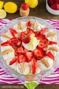 No Bake Strawberry Lemon Cheesecake Pie