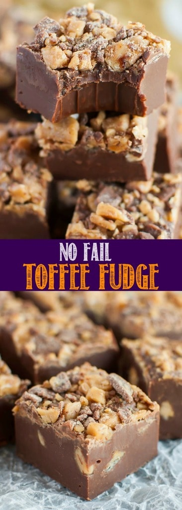 Easy No Fail Chocolate Toffee Fudge is an incredibly simple recipe that makes the best fudge ever! Perfect for holidays and parties, and makes a great gift!