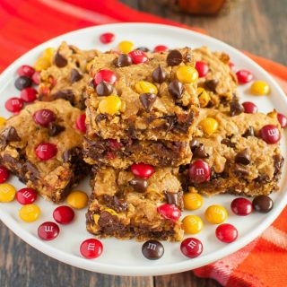 Chewy Pumpkin Monster Cookie Bars