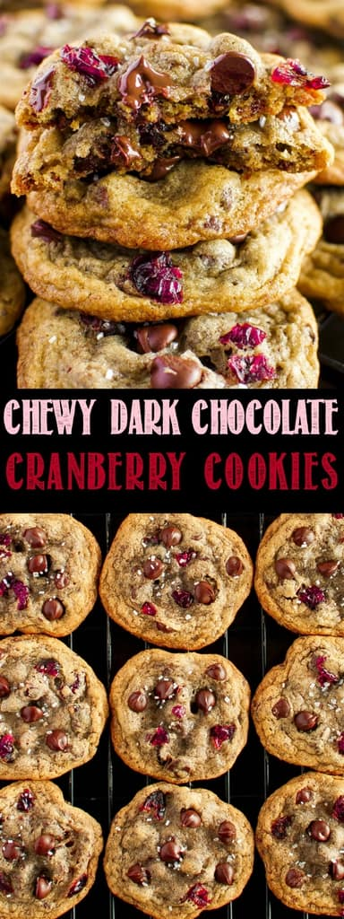 Chewy Dark Chocolate Cranberry Cookies - the ultimate holiday cookies. Sweet and tart, with chocolate in every bite, sprinkled with sparkling vanilla sugar!