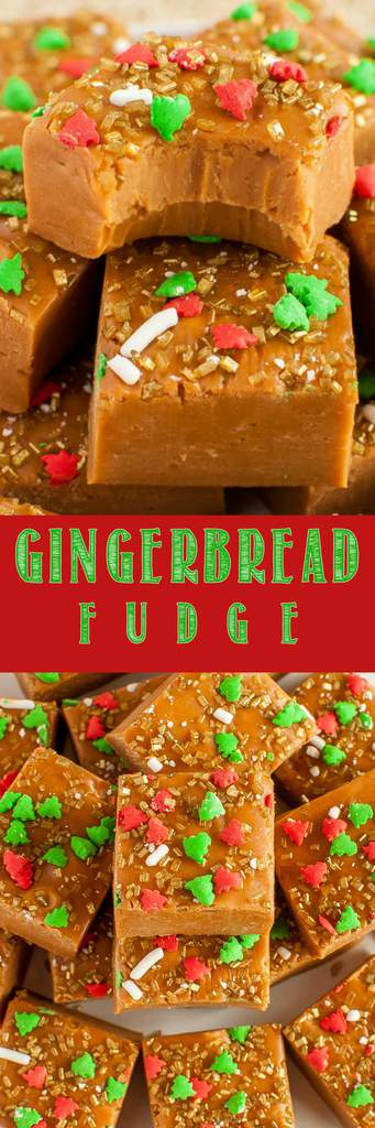 Have a holly jolly Christmas with a plate of Gingerbread Fudge! It tastes just like a gingerbread cookie, with the smooth, rich, creamy texture of fudge!