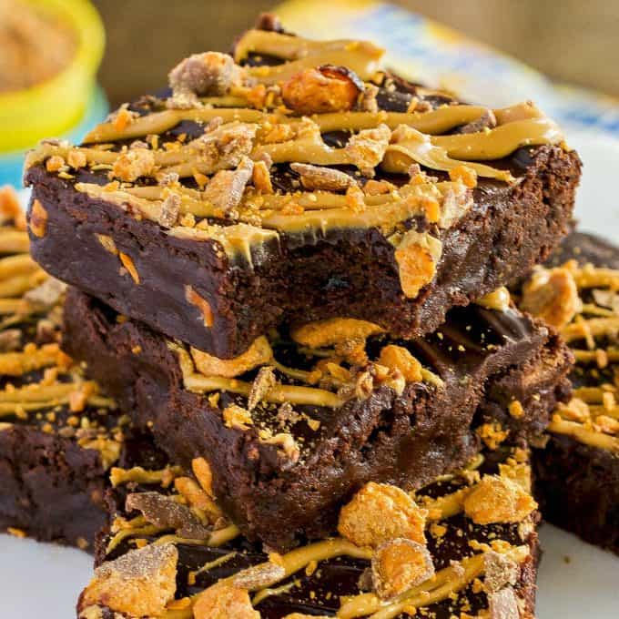 Homemade Butterfinger Fudge Brownies are a rich, fudgy treat always met with rave reviews. An easy dessert perfect for chocolate and peanut butter lovers!