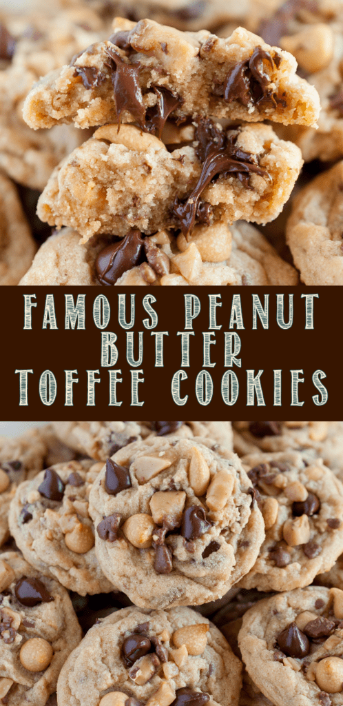 Peanut Butter Toffee Cookies are out of this world delicious, and so easy to make - no need to chill the dough! Soft and chewy, with a bit of crunch! #peanutbutter #bestcookies #softandchewycookies #toffee