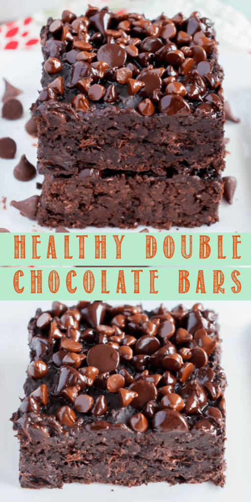 This Healthy Double Chocolate Brownie Bars Recipe makes a fudgy, chewy, brownie like dessert that will satisfy your chocolate cravings without the guilt!