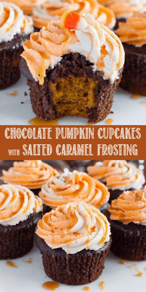Chocolate Pumpkin Cupcakes with Salted Caramel Buttercream are a delicious new way to enjoy pumpkin desserts this holiday season! Great for Halloween and fall parties! #halloween #pumpkin #chocolate #saltedcaramel #cupcakes #dessert