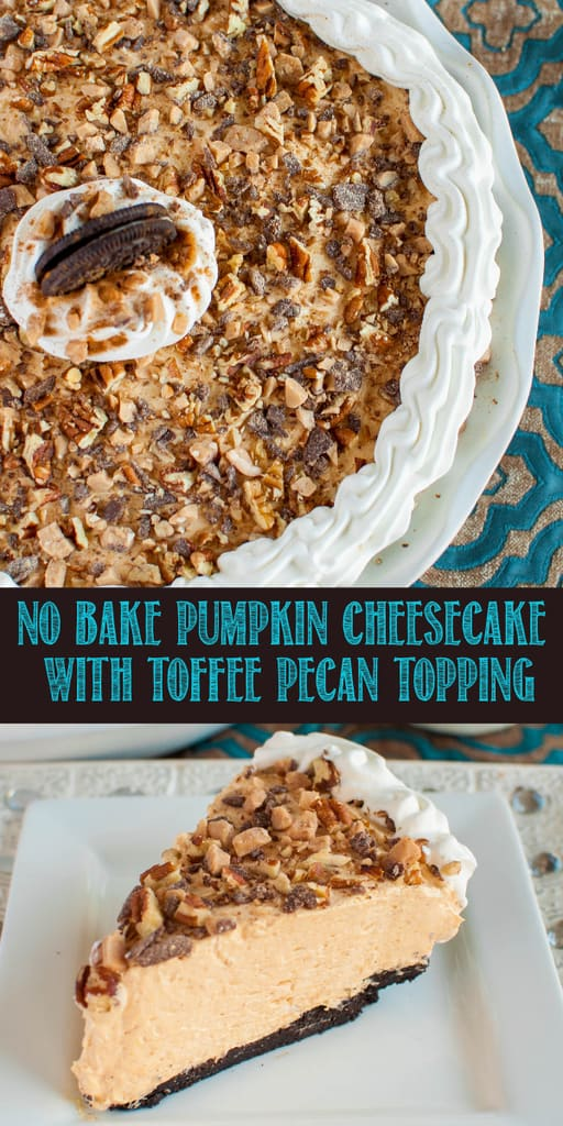 This easy No Bake Pumpkin Cheesecake Recipe will be the star of your holiday dessert table! The Oreo cookie crust and toffee pecan topping makes this pie irresistible!