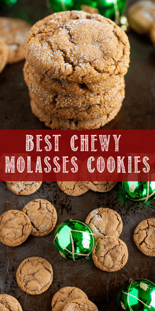 These are the Best Chewy Molasses Cookies ever, and a must make Christmas cookie tradition! The perfectly crackled tops and chewy insides are irresistible! #christmascookie #holidaydessert #molassescookierecipe #cheygingerbreadcookie