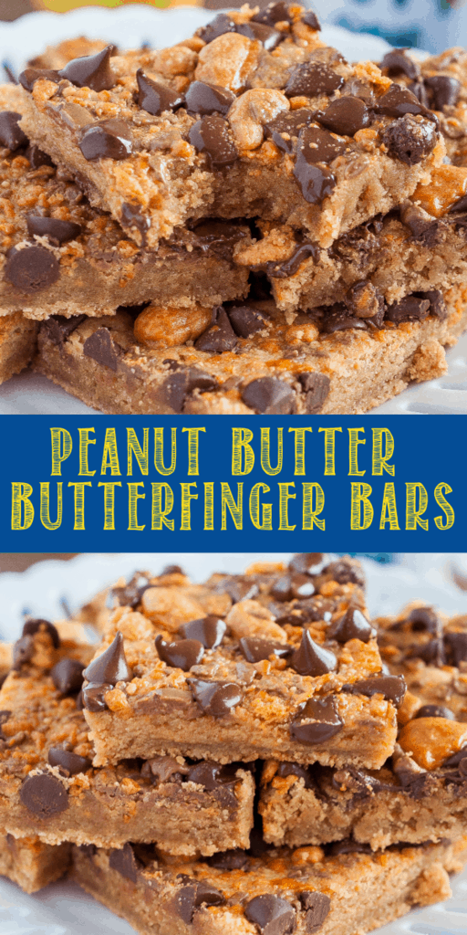 Peanut Butter Butterfinger Bars are a rich and chewy, easy dessert recipe! Fudgy, brownie like bars topped with crunchy Butterfinger bits and chocolate chips!