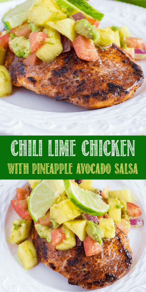 Chili Lime Chicken with Pineapple Avocado Salsa on a white plate