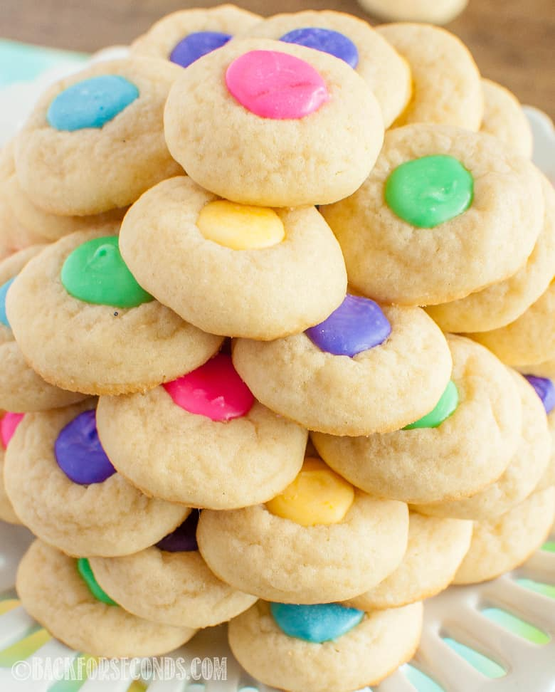 Easter Thumbprint Cookies Stacked on a plate