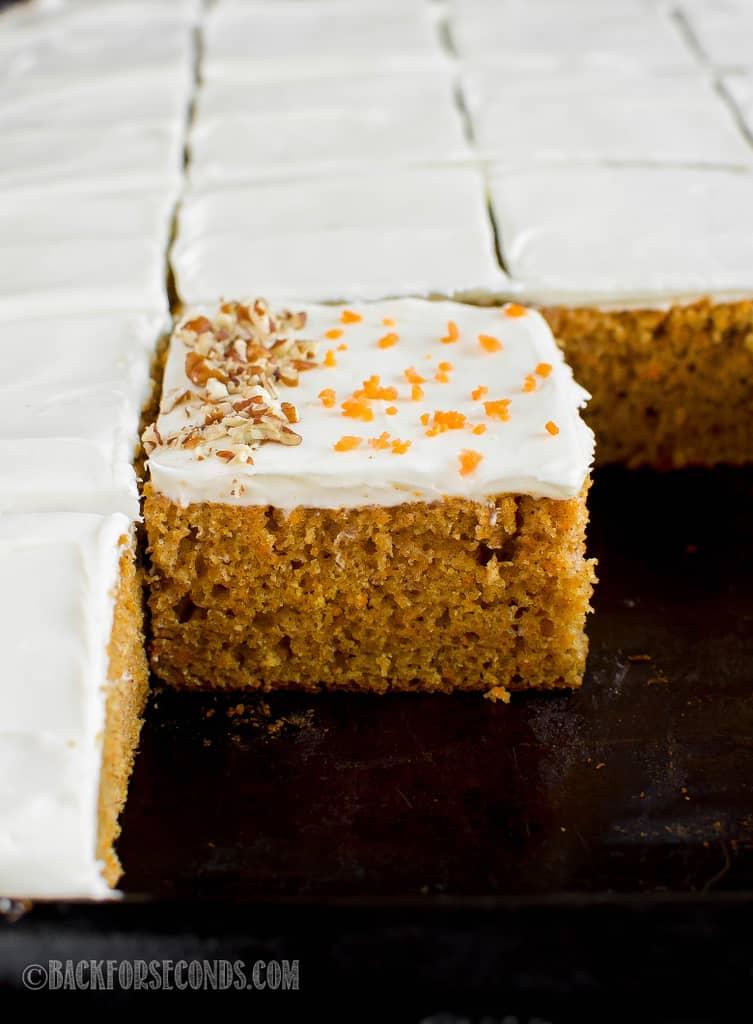 carrot cake on sheet pan