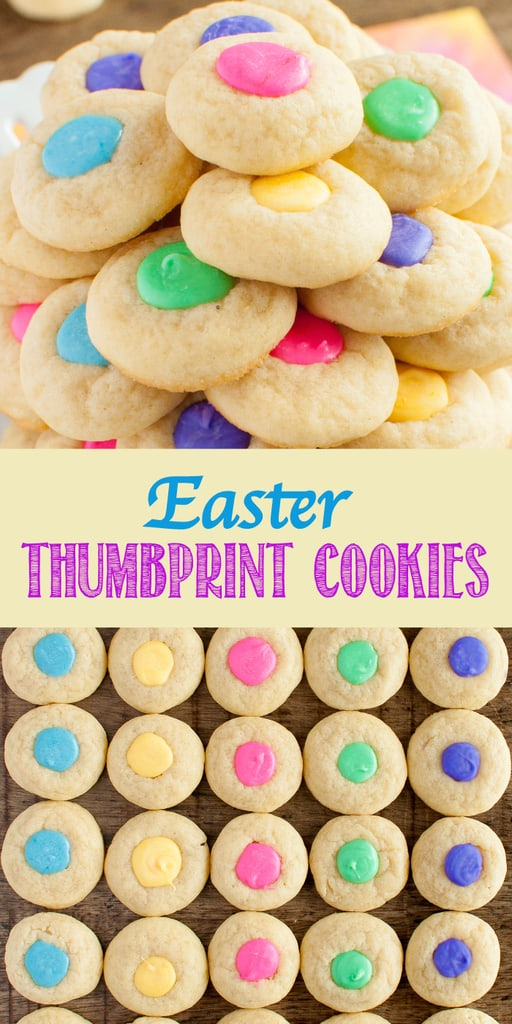 Colorful Easter Thumbprint Cookies collage picture