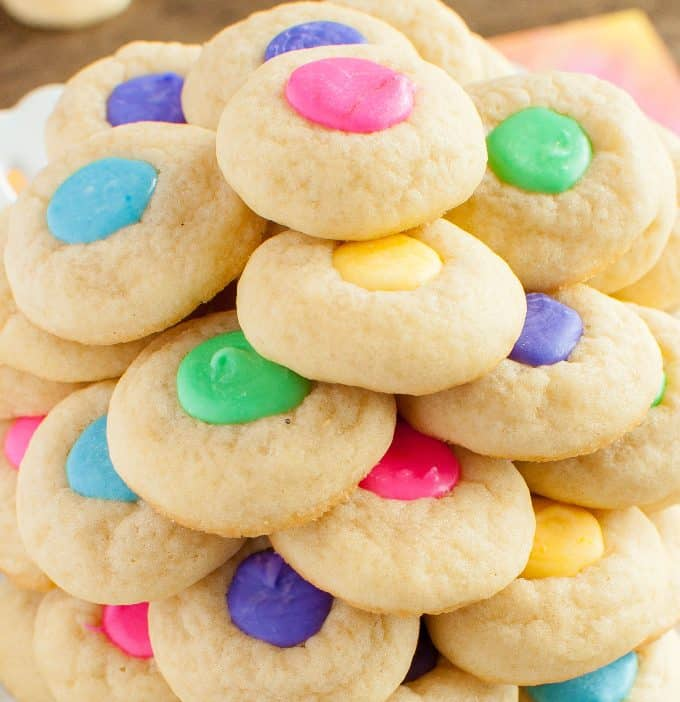 colorful easter thumbprint sugar cookies