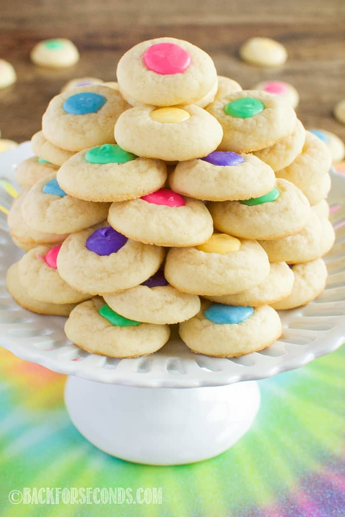 Easter Thumbprint Cookies on a cake stand
