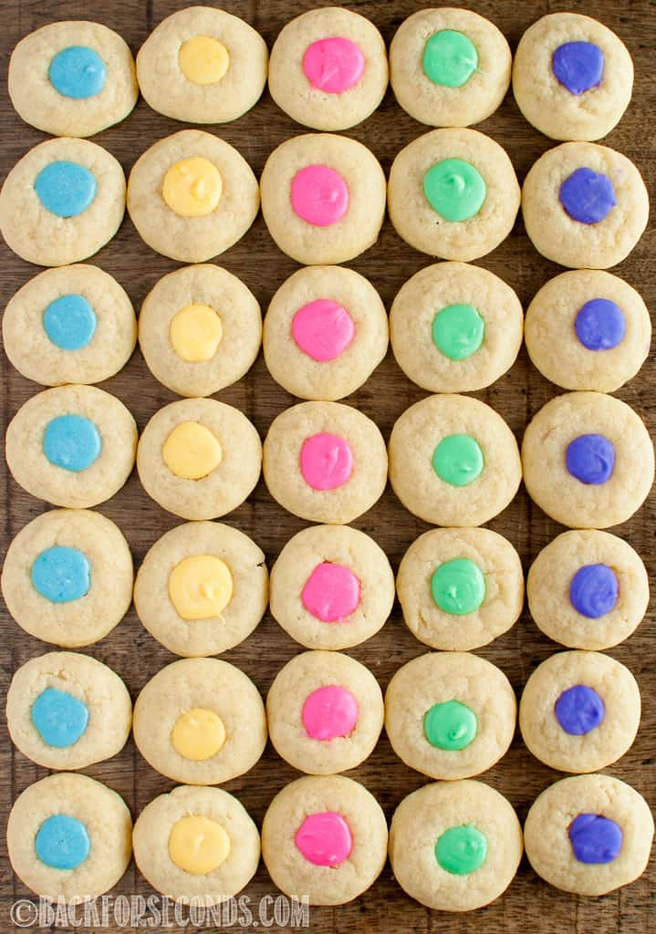 Easter Thumbprint Cookies in rows
