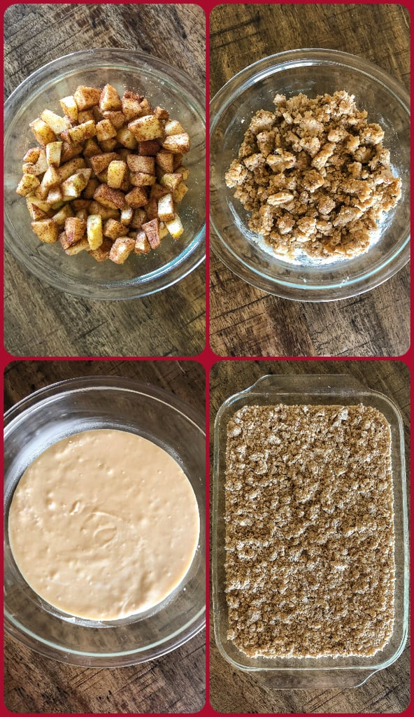 Step by step photos for how to make an apple crumb cake