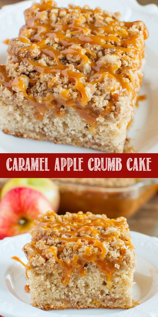 Caramel Apple Crumb Cake collage photo