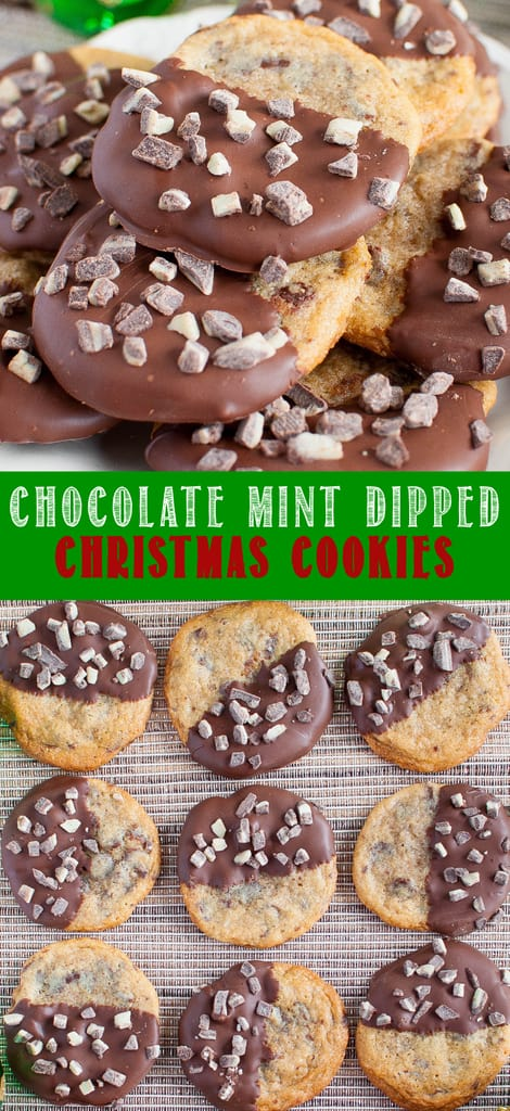Chocolate Dipped Mint Chocolate Chip Cookies collage photo