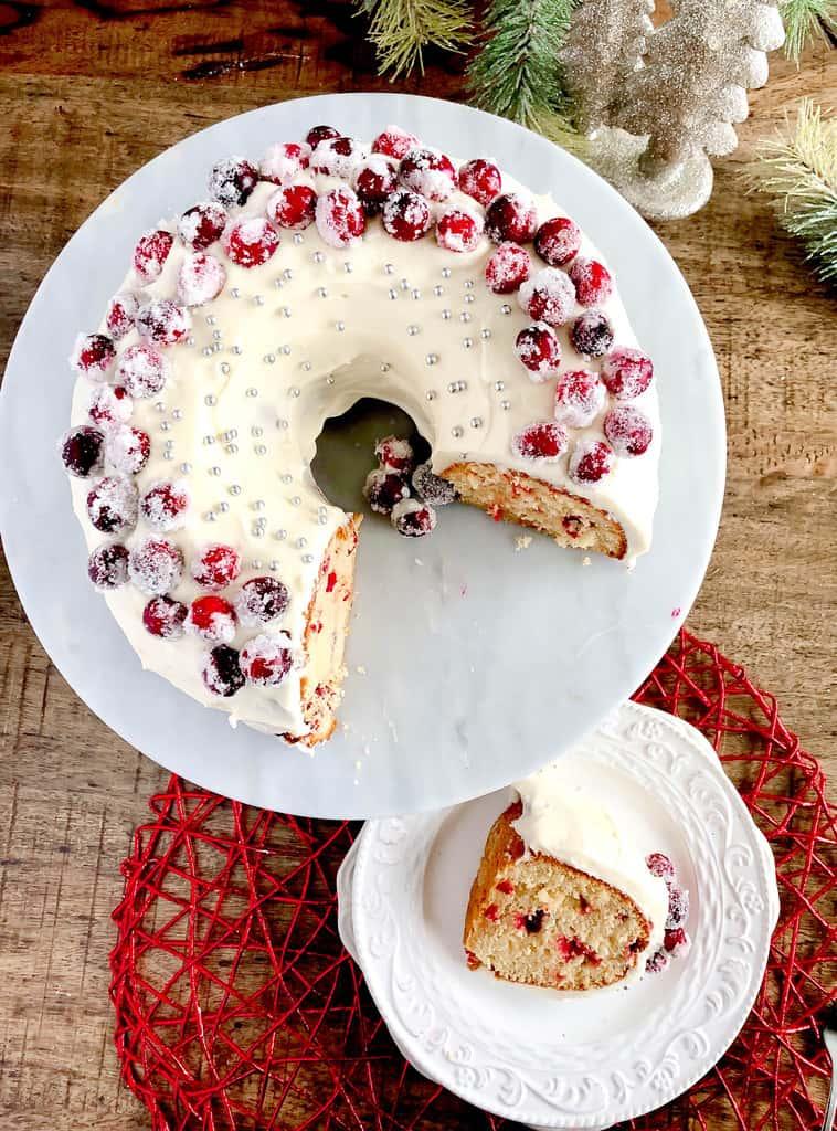 Fresh Cranberry Christmas Cake top view