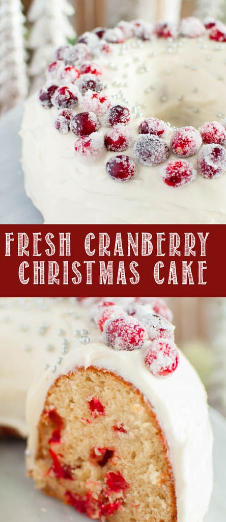 Cranberry Christmas Cake with Cream Cheese Frosting and sugared cranberries on top Collage photo
