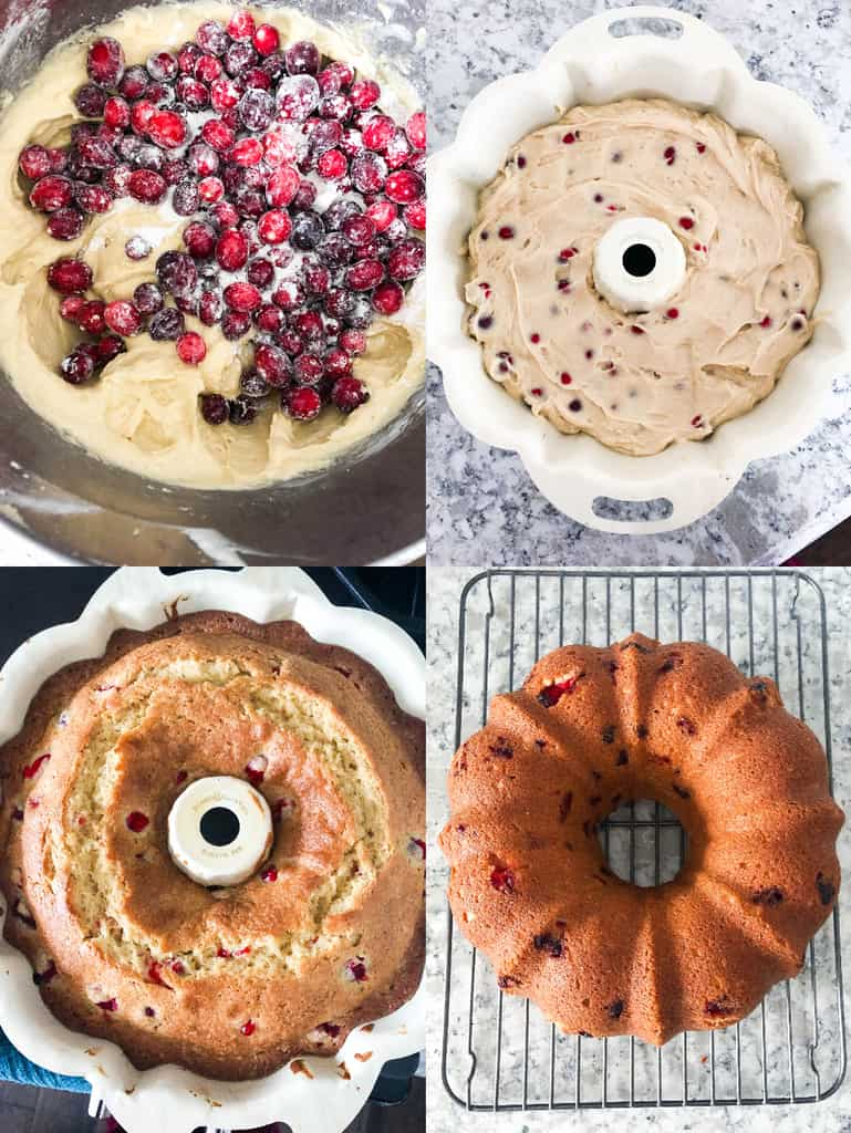 How to Make a Fresh Cranberry Christmas Cake collage photos