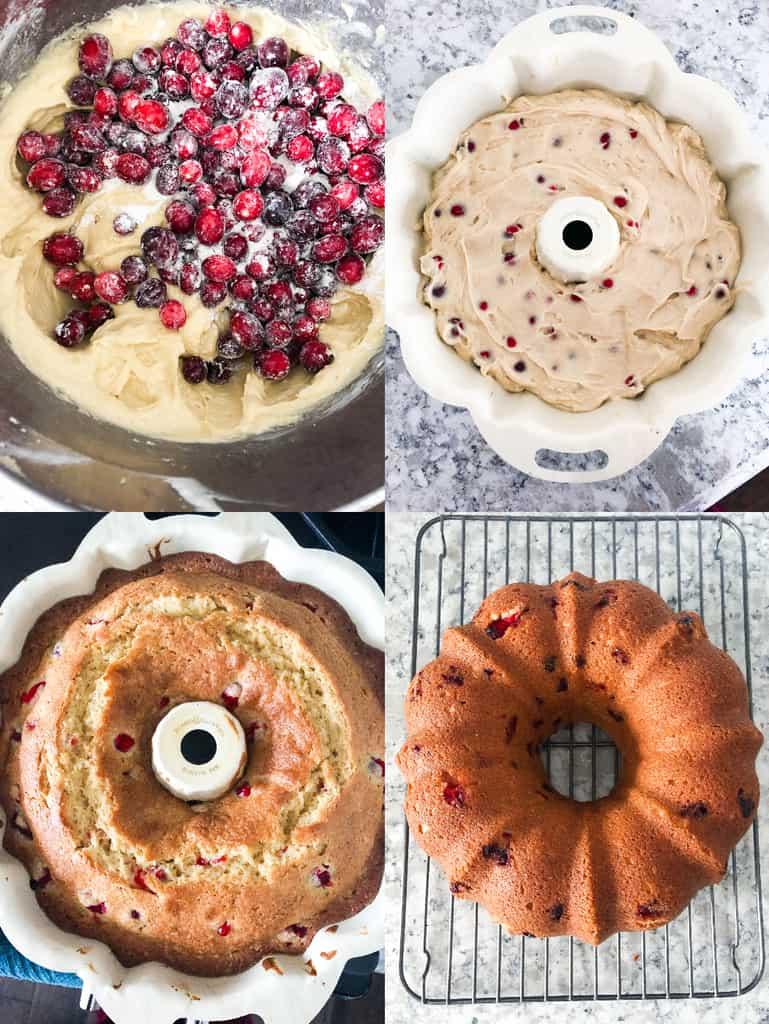 How to Make a Fresh Cranberry Christmas Cake collage photos